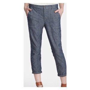 Vince Blue Chambray Rolled Trouser Crop Pants 30